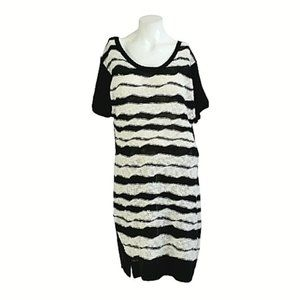 Extra Touch Nubby Knit Stripe Sheath Sweater Dress
